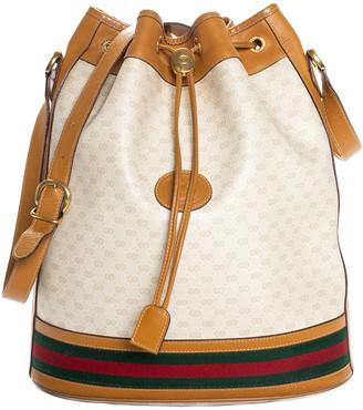 Gucci Multicolor Gg Supreme Canvas & Tan Leather Plus Bucket Bag