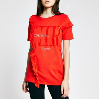 River Island Red 'Couture' frill front t-shirt