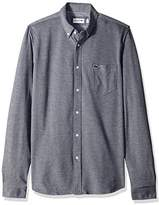 Lacoste Men's Long Sleeve with Pocket Textured Jersey Slim Woven Shirt
