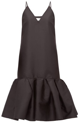 Marques Almeida Peplum-hem Taffeta Slip Dress - Black