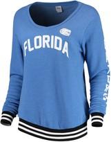 Unbranded Women's Blue 84 Royal Florida Gators Emily Varsity Banded V-Neck Pullover Sweatshirt
