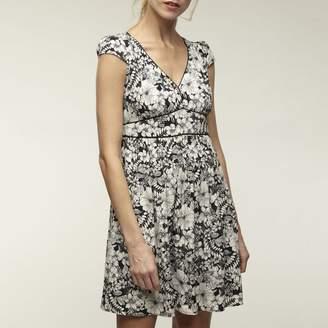 Naf Naf Floral Print Short Dress with Puff Sleeves
