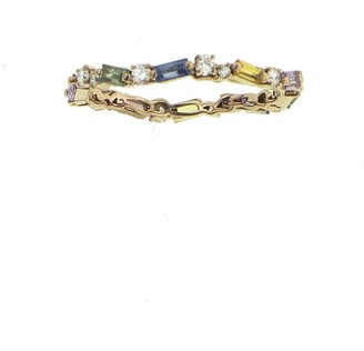 Suzanne Kalan Thin Pastel Rainbow Sapphire Fireworks Eternity Band Rose Gold Ring