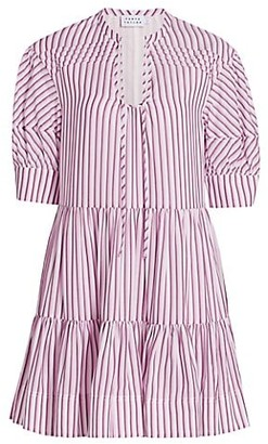 Tanya Taylor Calyn Stripe Mini A-Line Flounce Dress
