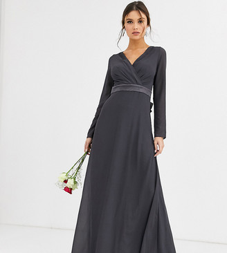 TFNC Bridesmaid long sleeve maxi dress with satin bow back in grey