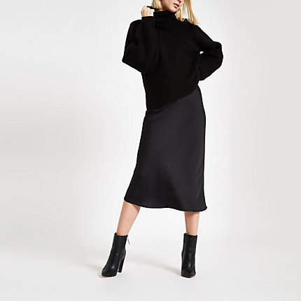 River Island Black bias cut midi skirt