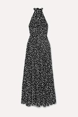 Raquel Diniz Giovanna Printed Velvet Halterneck Gown - Black