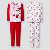 Elf on the Shelf Girls' Elf On The Shelf 4 Piece Pajama Set - Red