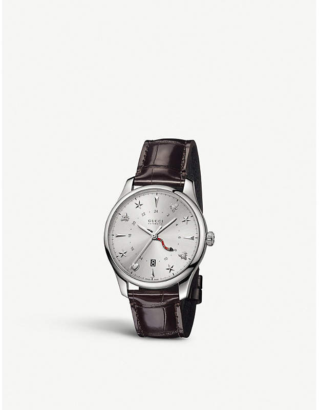 Gucci YA126332 G-Timeless alligator-leather and stainless steel watch