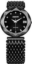 Jowissa Women's J5.193.XL Crystal 3 Black PVD Coated Stainless Steel Mesh Bracelet Black Dial Watch