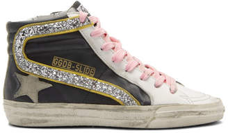 Golden Goose Black and White Glitter Flash Slide High-Top Sneakers