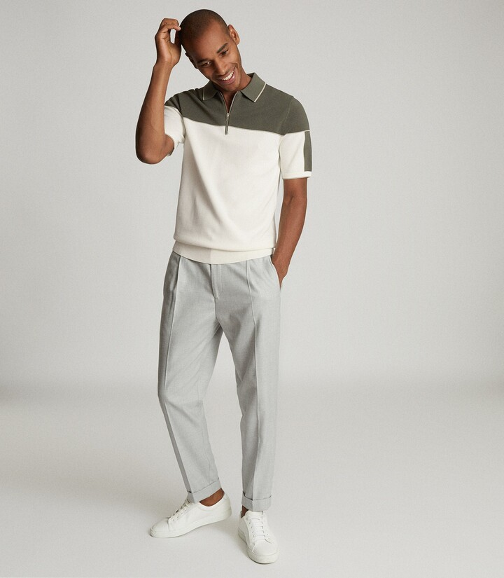 Reiss Nelson - Tipped Zip Neck Polo Shirt in Ecru/Sage