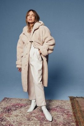 Nasty Gal Womens Oversized Faux Shearling Coat in Longline Silhouette - Cream