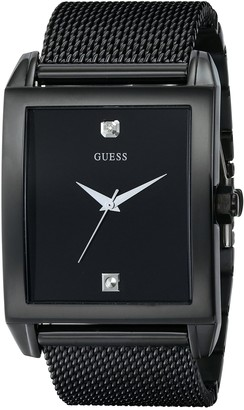 GUESS Mesh Black Ionic Plated Rectangular Genuine Diamond Watch. Color: Black (Model: U0298G1)