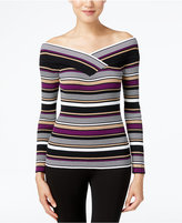 INC International Concepts Reversible Off-The-Shoulder Striped Sweater, Only at Macy's