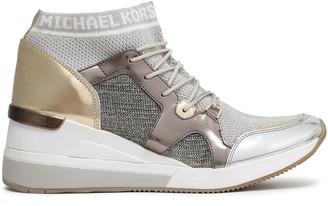 MICHAEL Michael Kors Hilda Faux Leather-paneled Metallic Mesh Wedge Sneakers