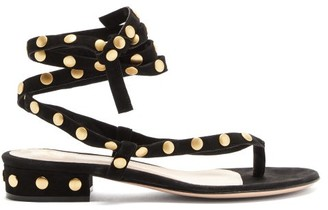 Gianvito Rossi Wraparound Studded Suede Sandals - Black Gold