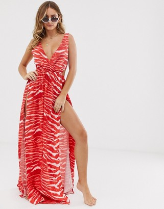 ASOS DESIGN tie back cross front split maxi beach dress in red tiger print
