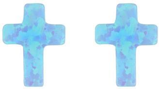 Mocha Sterling Silver Mini Cross Stud Earrings - Light Blue Lt