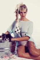 Wildfox Couture Domino Effect Lennon Sweater in Bleached Aqua