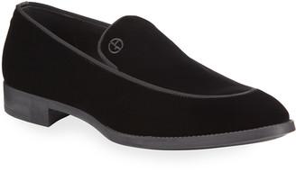 Giorgio Armani Men's Velvet Formal Loafers, Black