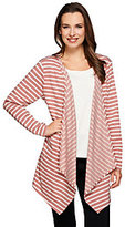 As Is Denim & Co. Active French Terry Striped Drape Front Cardigan