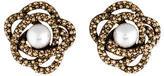 Oscar de la Renta Crystal & Faux Pearl Clip-On Earrings
