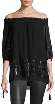 Max Studio Sequined-Embellished Tunic, Black