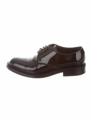 Saint Laurent Patent Leather Round-Toe Oxfords Black