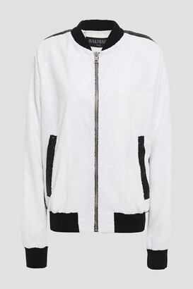 Balmain Striped Sequined Stretch-mesh Bomber Jacket