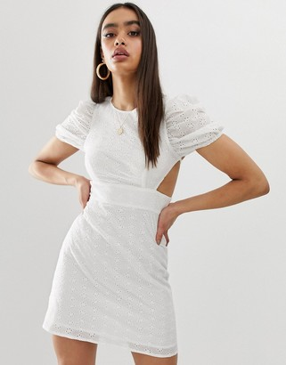 Fashion Union broderie mini dress with lace up back-White