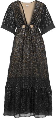 Stella McCartney Cutout Faux Leather-appliqued Chiffon Gown