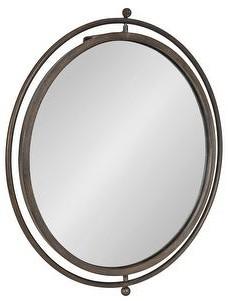 "Kate and Laurel Baron Rustic Pivot Mirror, 21"" Diameter, Raw Iron - 21"" Diameter"