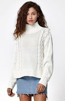 Rusty Lotus Hi Neck Knit Pullover Sweater