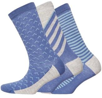 Jaeger Womens Three Pack Sloping Stripe Socks Navy Grey