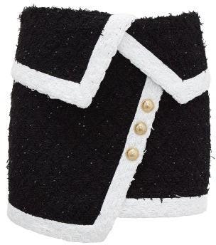 Balmain Asymmetric Tweed Mini Skirt - Black White