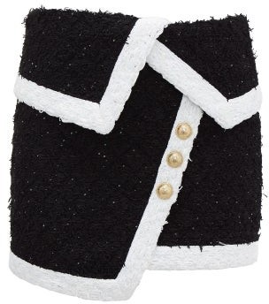 Balmain Asymmetric Tweed Mini Skirt - Womens - Black White