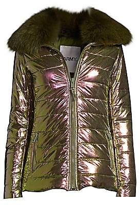 Yves Salomon Army by Women's Doudoune Fox Fur Collar Metallic Puffer Jacket