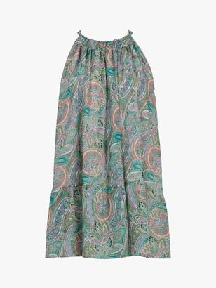 AllSaints Roma Sleeveless Paisley Print Tunic Top, Green/Multi