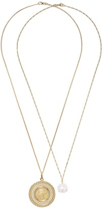 Wouters & Hendrix Gold 18kt Gold Pearl And Coin Pendant Necklaces