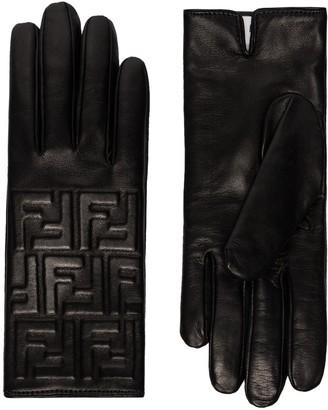 Fendi embossed logo gloves