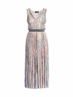 Missoni Abito Incrociato Multicolor Stripe Tie-Waist Midi Dress