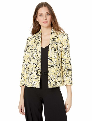 Kasper Women's Watercolor Paisley Printed Scuba Crepe Fly Away Jacket
