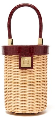 Sparrows Weave - The Cylinder Wicker And Leather Bag - Womens - Burgundy