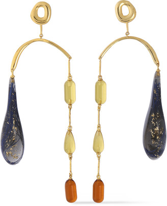 EJING ZHANG Hali 18-karat Gold-plated Resin Earrings