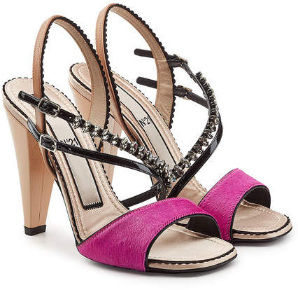 Hair N21 Leather And Patent Sandals With Pony Embellished wOvmNn08