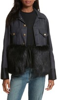 Women's Harvey Faircloth Denim Jacket With Faux Fur Trim