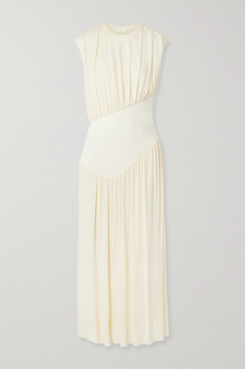 The Row Yokoto Gathered Stretch-jersey And Twill Maxi Dress - Cream