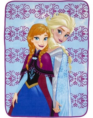 Disney Frozen Disney's Frozen Plush Throw, Kids Bedding, 46? x 60?, Blue and Purple, Elsa and Anna