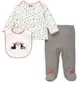 Little Me Girls' Dalmatian Top, Footie Pants & Bib Set - Baby
